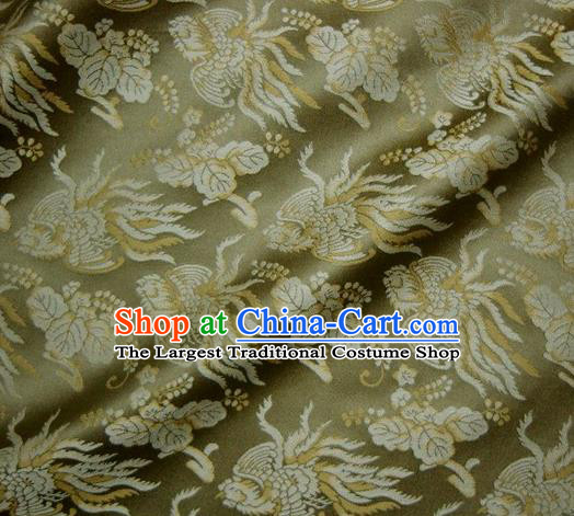 Asian Traditional Classical Phoenix Pattern Green Brocade Fabric Japanese Kimono Satin Silk Material