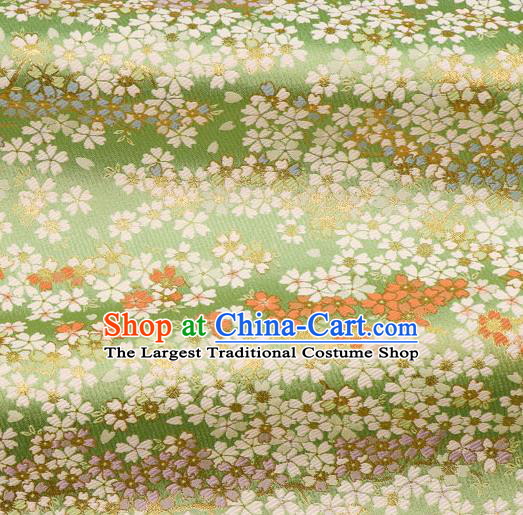 Asian Traditional Classical Sakura Pattern Nishijin Green Brocade Fabric Japanese Kimono Satin Silk Material