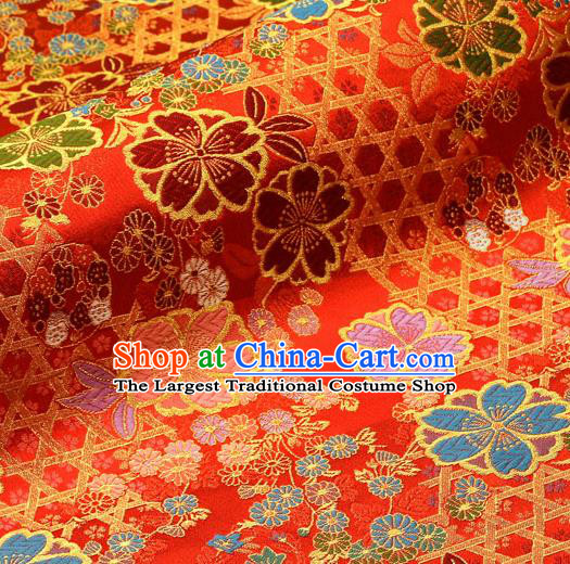 Asian Traditional Classical Sakura Pattern Nishijin Red Brocade Fabric Japanese Kimono Satin Silk Material