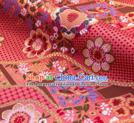 Asian Traditional Classical Flowers Pattern Nishijin Pink Brocade Fabric Japanese Kimono Satin Silk Material