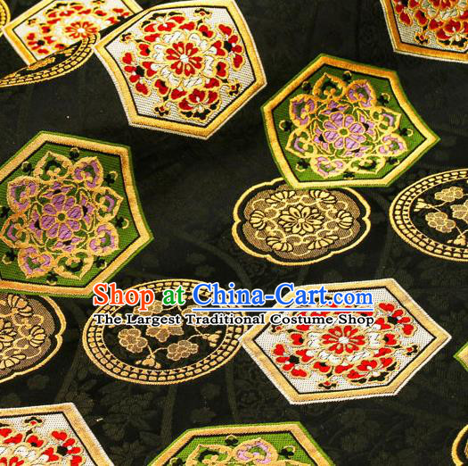 Asian Traditional Classical Tortoiseshell Pattern Nishijin Black Brocade Fabric Japanese Kimono Satin Silk Material