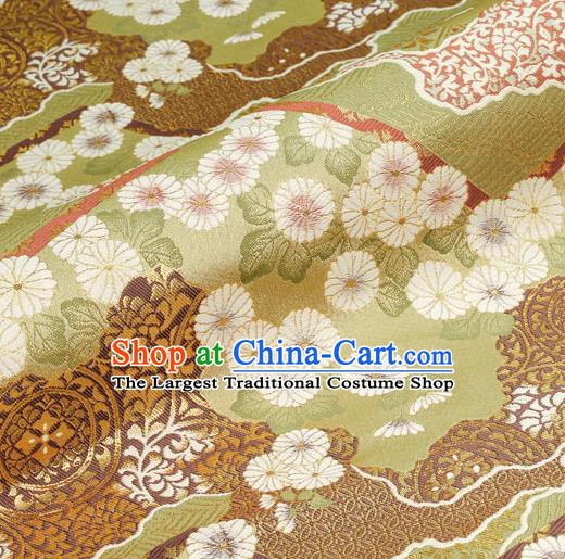 Asian Traditional Classical Daisy Pattern Nishijin Green Brocade Fabric Japanese Kimono Satin Silk Material