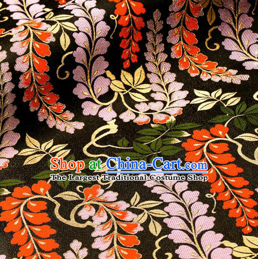 Asian Traditional Classical Wisteria Pattern Nishijin Black Brocade Fabric Japanese Kimono Satin Silk Material