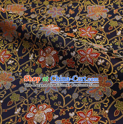 Asian Traditional Classical Flowers Pattern Nishijin Navy Brocade Fabric Japanese Kimono Satin Silk Material