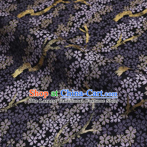 Asian Traditional Classical Sakura Pattern Nishijin Purple Brocade Fabric Japanese Kimono Satin Silk Material