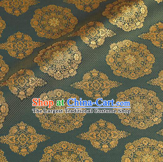 Asian Traditional Classical Pattern Blue Brocade Fabric Japanese Kimono Satin Silk Material