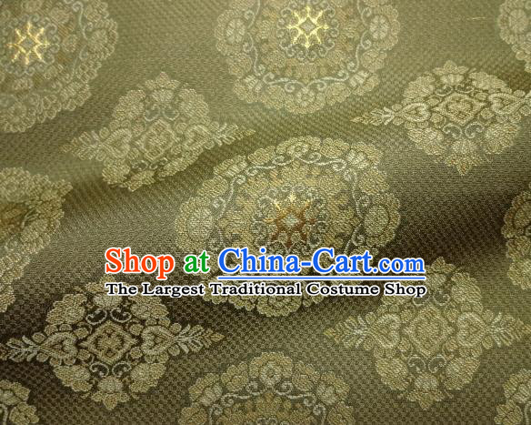 Asian Traditional Classical Pattern Olive Green Brocade Fabric Japanese Kimono Satin Silk Material