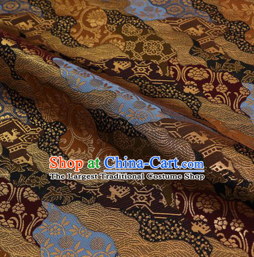 Asian Traditional Classical Pattern Black Tapestry Satin Nishijin Brocade Fabric Japanese Kimono Silk Material