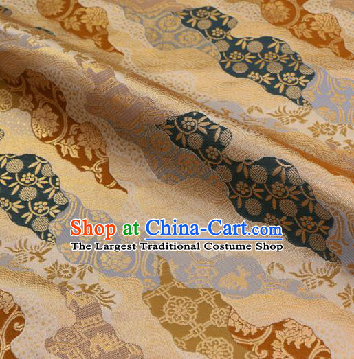 Asian Traditional Classical Pattern Golden Tapestry Satin Nishijin Brocade Fabric Japanese Kimono Silk Material