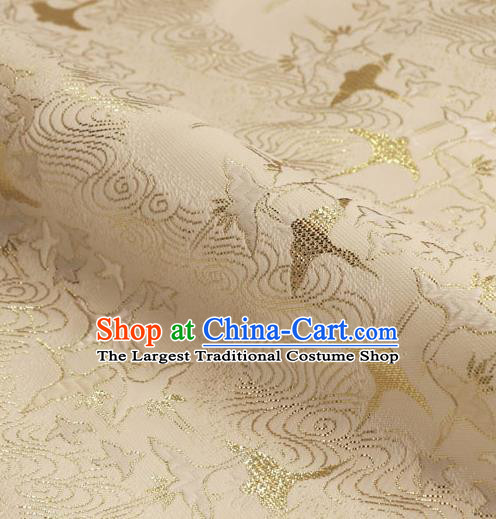 Asian Traditional Classical Crane Pattern White Tapestry Satin Nishijin Brocade Fabric Japanese Kimono Silk Material