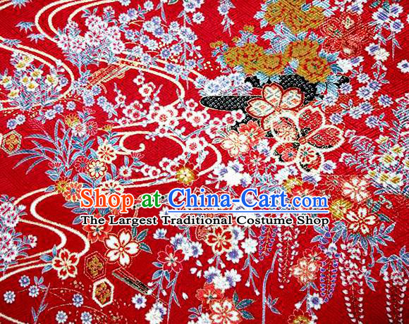 Asian Traditional Classical Orchid Pattern Red Tapestry Satin Nishijin Brocade Fabric Japanese Kimono Silk Material