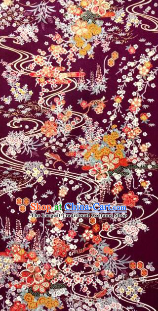 Asian Traditional Classical Orchid Pattern Purple Tapestry Satin Nishijin Brocade Fabric Japanese Kimono Silk Material