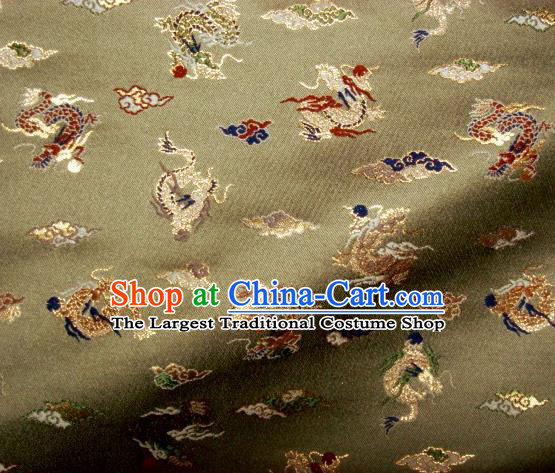 Asian Traditional Classical Dragons Pattern Olive Green Tapestry Satin Nishijin Brocade Fabric Japanese Kimono Silk Material