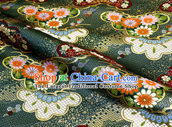Asian Traditional Classical Daisy Pattern Deep Green Tapestry Satin Nishijin Brocade Fabric Japanese Kimono Silk Material