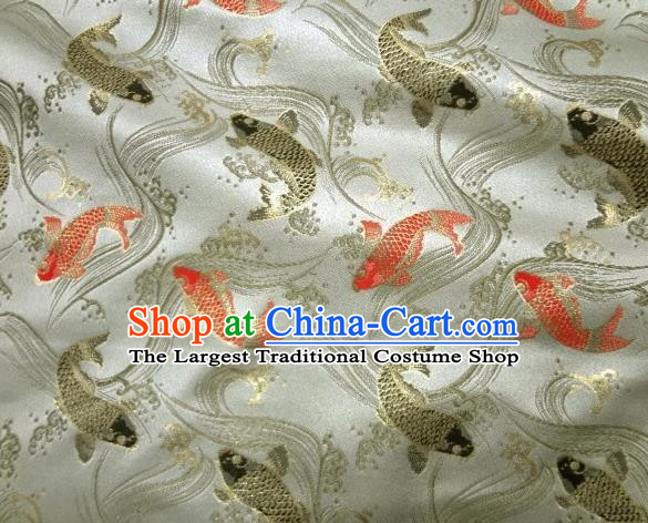 Asian Traditional Classical Carp Pattern White Tapestry Satin Nishijin Brocade Fabric Japanese Kimono Silk Material