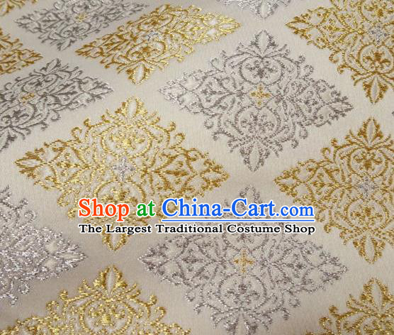 Asian Traditional Classical Pattern White Tapestry Satin Nishijin Brocade Fabric Japanese Kimono Silk Material