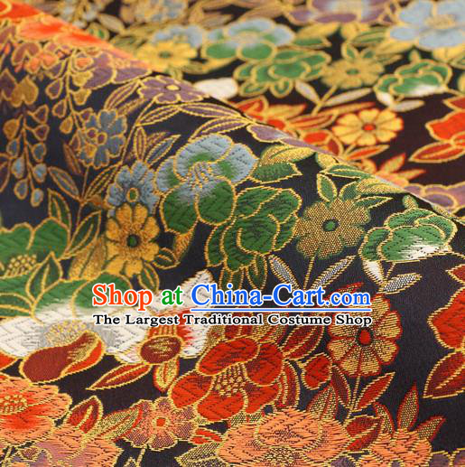 Asian Traditional Classical Flowers Pattern Nishijin Black Brocade Fabric Japanese Kimono Satin Silk Material