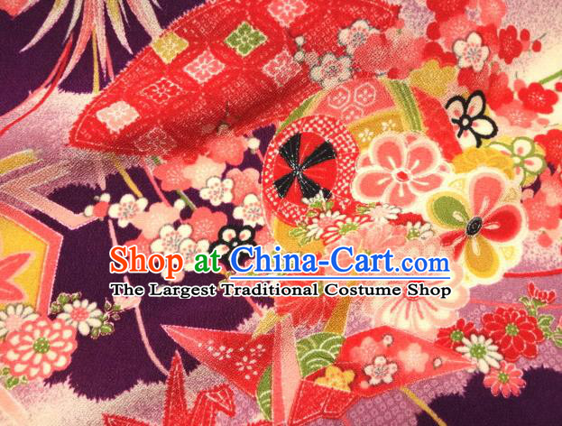 Asian Traditional Classical Paper Crane Pattern Purple Tapestry Satin Nishijin Brocade Fabric Japanese Kimono Silk Material