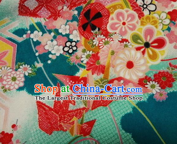 Asian Traditional Classical Paper Crane Pattern Blue Tapestry Satin Nishijin Brocade Fabric Japanese Kimono Silk Material