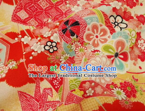 Asian Traditional Classical Paper Crane Pattern Red Tapestry Satin Nishijin Brocade Fabric Japanese Kimono Silk Material