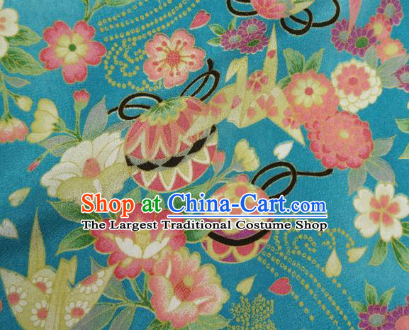 Asian Traditional Classical Bell Flowers Pattern Blue Tapestry Satin Nishijin Brocade Fabric Japanese Kimono Silk Material