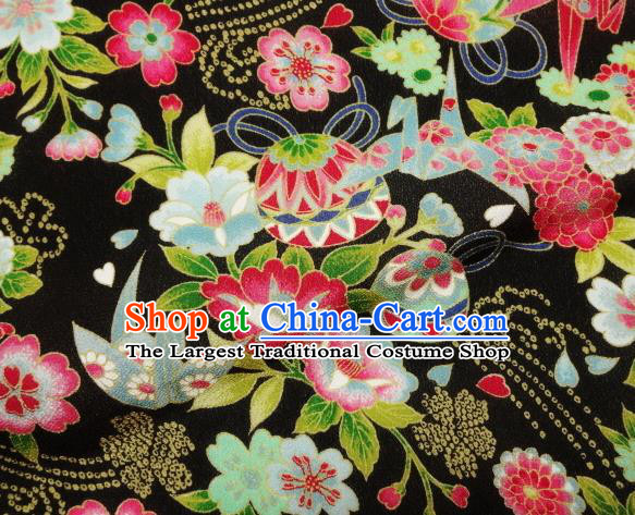 Asian Traditional Classical Bell Flowers Pattern Black Tapestry Satin Nishijin Brocade Fabric Japanese Kimono Silk Material