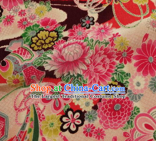 Asian Traditional Classical Flowers Pattern Pink Tapestry Satin Nishijin Brocade Fabric Japanese Kimono Silk Material