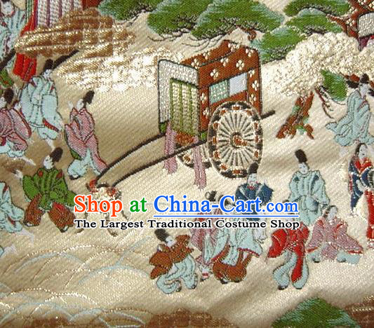 Asian Traditional Classical Sinzone Pattern Golden Tapestry Satin Nishijin Brocade Fabric Japanese Kimono Silk Material