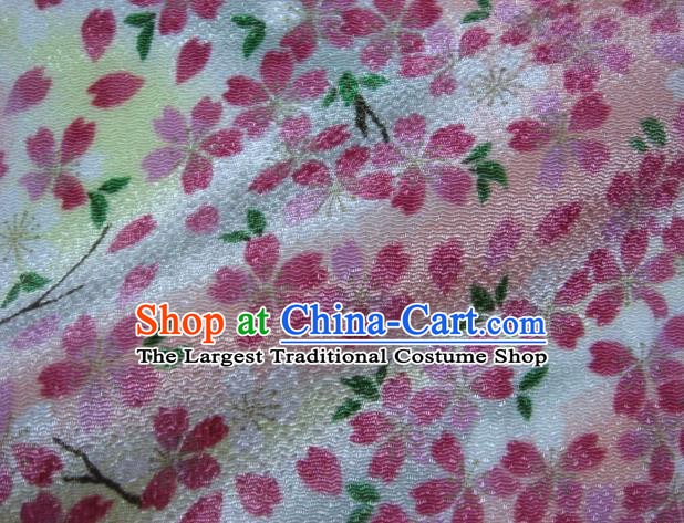 Asian Traditional Classical Sakura Pattern Pink Tapestry Satin Nishijin Brocade Fabric Japanese Kimono Silk Material