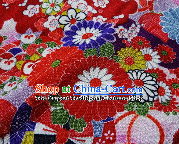Asian Traditional Classical Pattern Red Tapestry Satin Nishijin Brocade Fabric Japanese Kimono Silk Material
