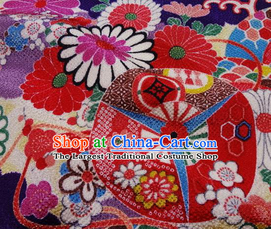 Asian Traditional Classical Pattern Purple Tapestry Satin Nishijin Brocade Fabric Japanese Kimono Silk Material