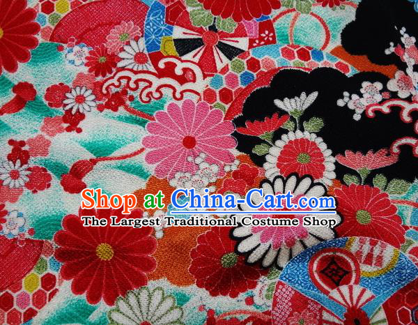 Asian Traditional Classical Pattern Tapestry Satin Nishijin Brocade Fabric Japanese Kimono Silk Material