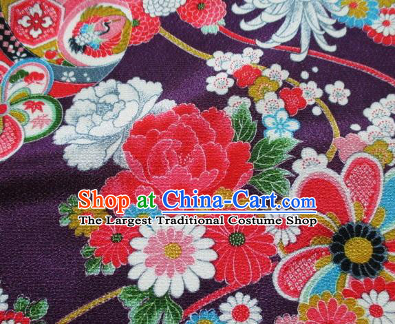 Asian Traditional Classical Chrysanthemum Fan Pattern Purple Tapestry Satin Brocade Fabric Japanese Kimono Silk Material