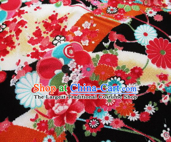Asian Traditional Classical Peony Pattern Black Tapestry Satin Brocade Fabric Japanese Kimono Silk Material