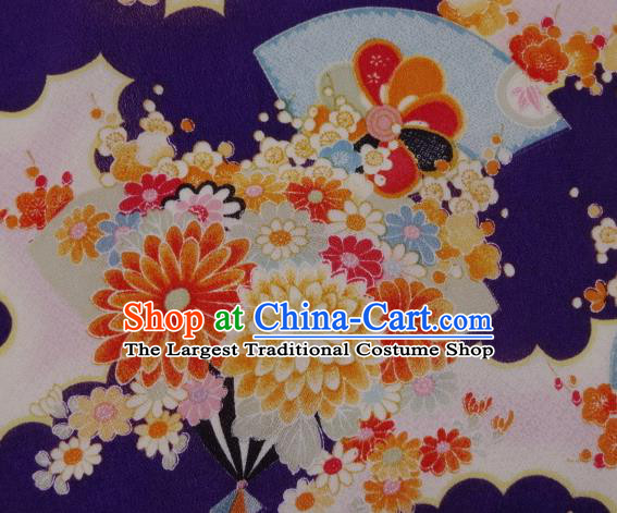 Asian Traditional Classical Flowers Fan Pattern Purple Tapestry Satin Brocade Fabric Japanese Kimono Silk Material
