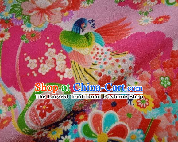 Asian Traditional Classical Peacock Pattern Pink Tapestry Satin Brocade Fabric Japanese Kimono Silk Material