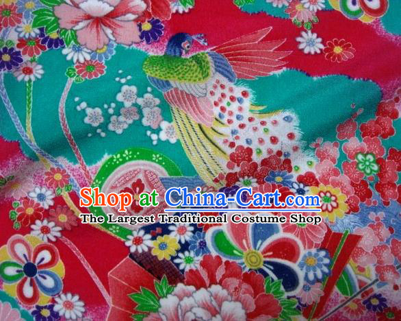 Asian Traditional Classical Peacock Pattern Blue Tapestry Satin Brocade Fabric Japanese Kimono Silk Material