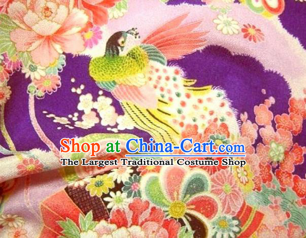 Asian Traditional Classical Peacock Pattern Purple Tapestry Satin Brocade Fabric Japanese Kimono Silk Material