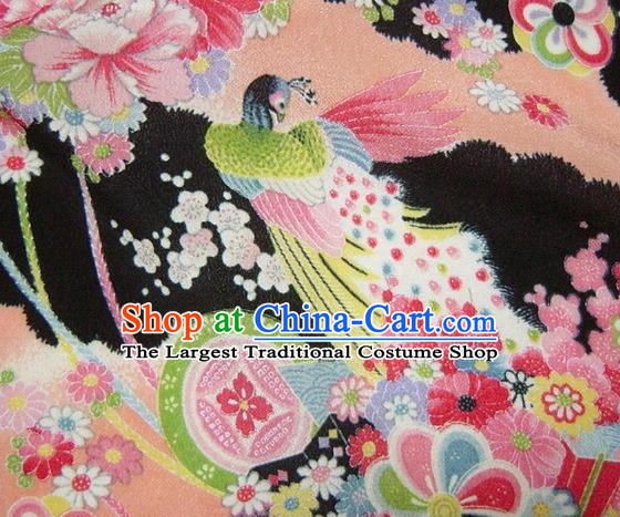 Asian Traditional Classical Peacock Pattern Black Tapestry Satin Brocade Fabric Japanese Kimono Silk Material