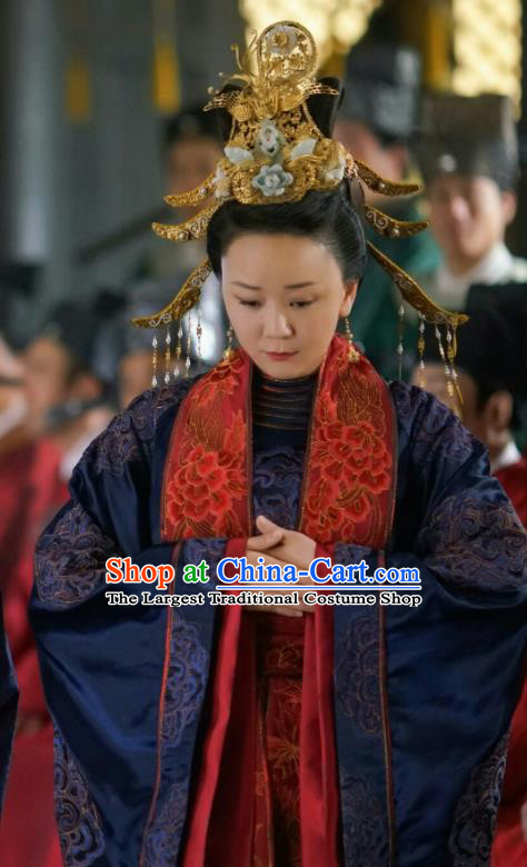Chinese Drama The Story Of MingLan Ancient Song Dynasty Imperial Mandate Dowager Embroidered Historical Costume and Headpiece Complete Set