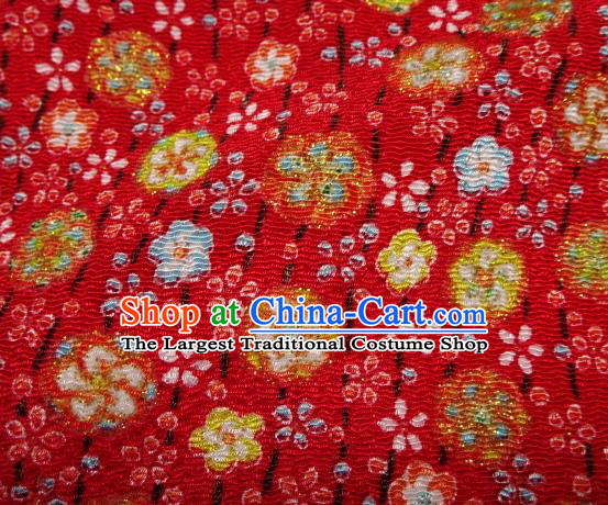 Asian Traditional Classical Pattern Red Brocade Tapestry Satin Fabric Japanese Kimono Silk Material