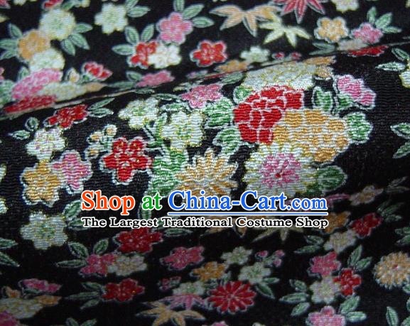 Asian Traditional Classical Daisy Pattern Black Brocade Tapestry Satin Fabric Japanese Kimono Silk Material
