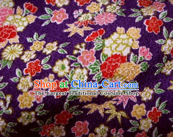Asian Traditional Classical Daisy Pattern Purple Brocade Tapestry Satin Fabric Japanese Kimono Silk Material