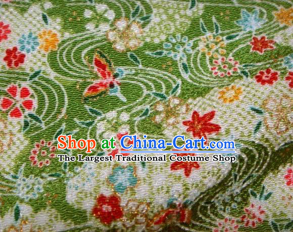 Asian Traditional Classical Maple Leaf Pattern Green Brocade Tapestry Satin Fabric Japanese Kimono Silk Material