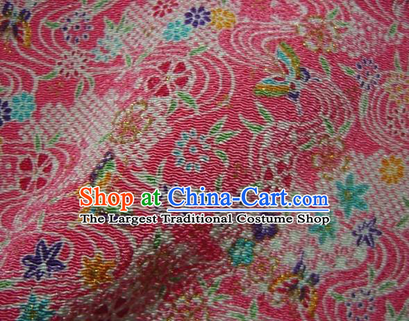 Asian Traditional Classical Maple Leaf Pattern Pink Brocade Tapestry Satin Fabric Japanese Kimono Silk Material