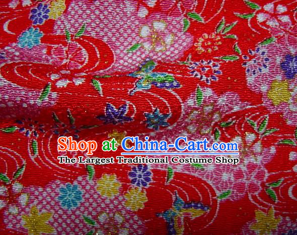 Asian Traditional Classical Maple Leaf Pattern Red Brocade Tapestry Satin Fabric Japanese Kimono Silk Material