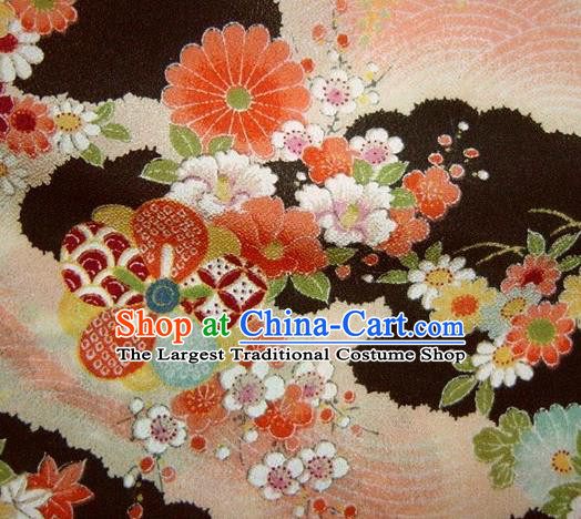 Asian Traditional Classical Peony Pattern Black Brocade Tapestry Satin Fabric Japanese Kimono Silk Material