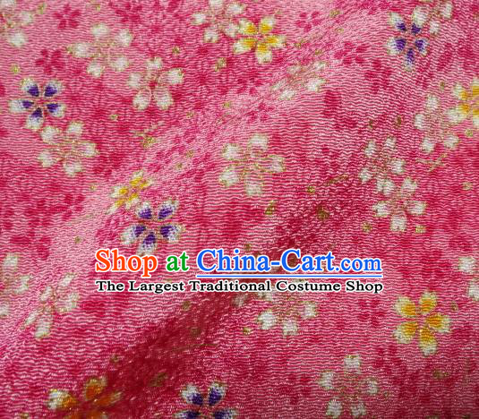 Asian Traditional Kimono Classical Sakura Pattern Pink Brocade Tapestry Satin Fabric Japanese Silk Material