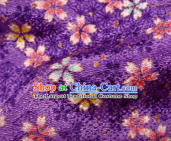 Asian Traditional Kimono Classical Sakura Pattern Purple Brocade Tapestry Satin Fabric Japanese Silk Material