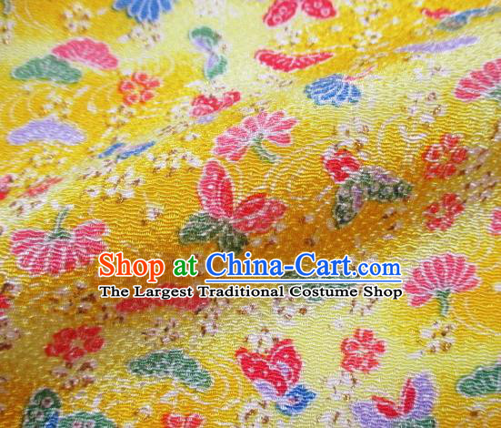 Asian Traditional Classical Butterfly Pattern Yellow Brocade Tapestry Satin Fabric Japanese Kimono Silk Material